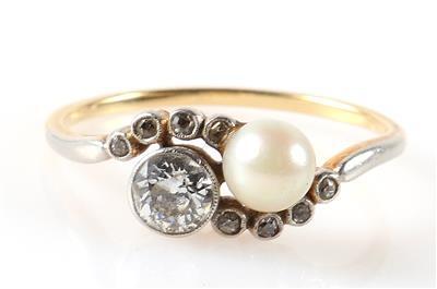 Brillant/Diamant Damenring Kulturperle