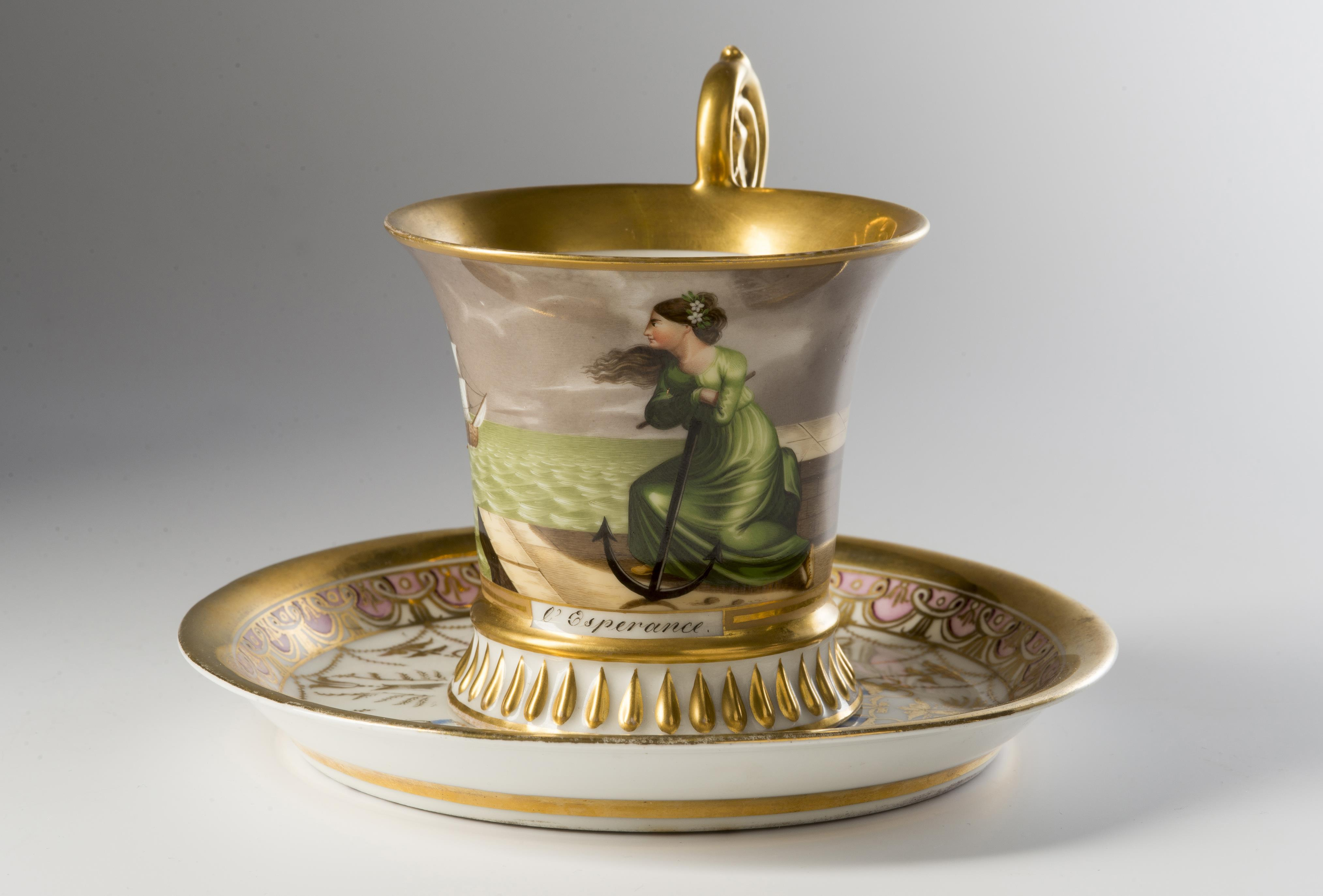 """Empire-style Cup with a Saucer """"Hope"""" - Art and Antiques"""