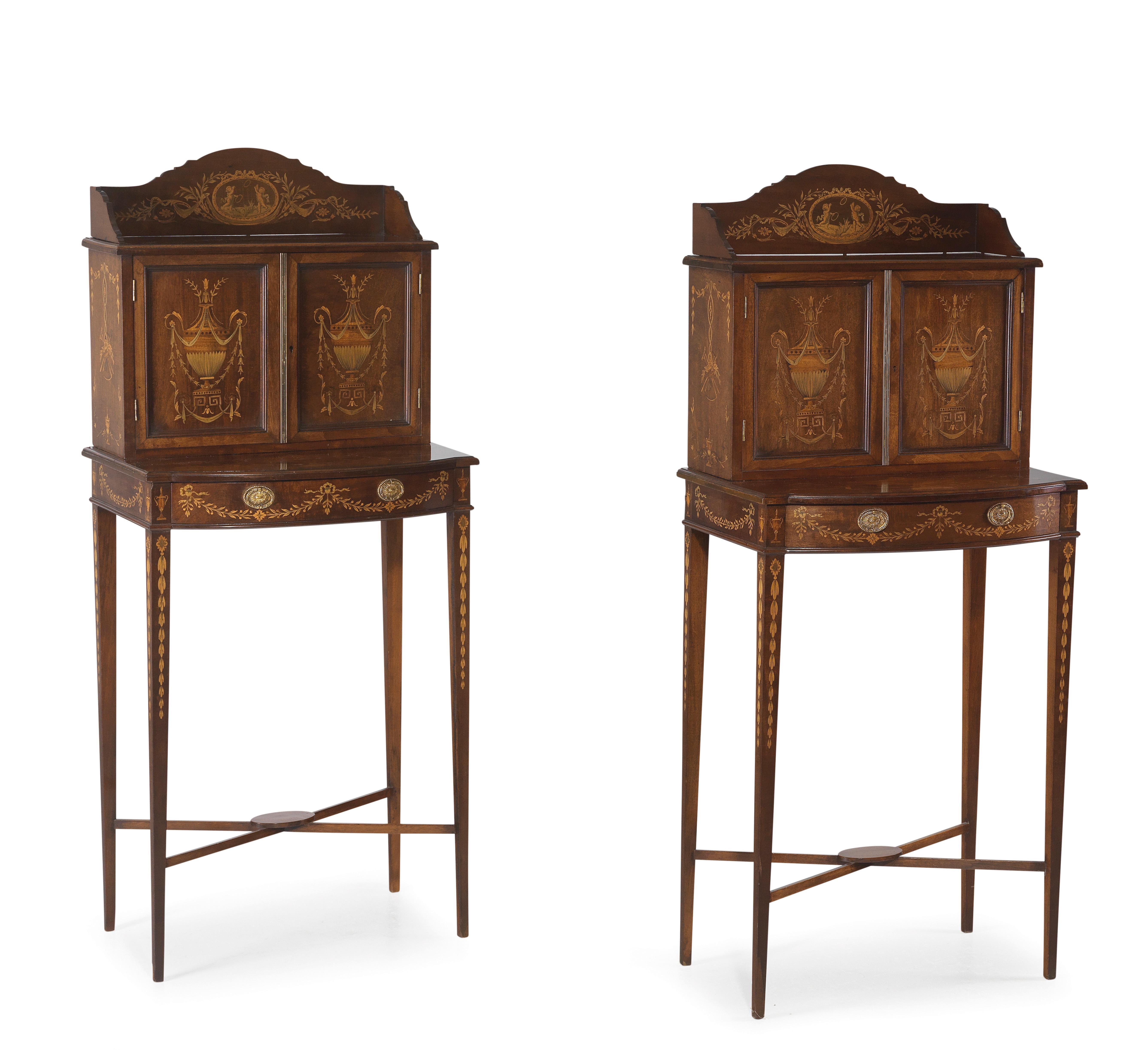 Pair Of Dainty English Tables With Cartonniers Furniture And