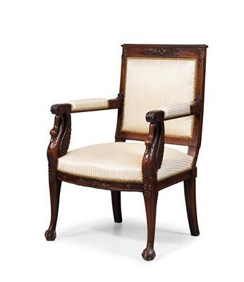 French Empire armchair, - Furniture and works of art