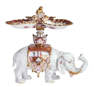 A Centrepiece with an Elephant Supporting 3 Shell Trays on Its Back, - Furniture, Porcelain, Sculpture and Works of Art