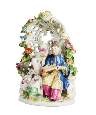 A Chinese Couple in an Arbour, - Furniture, Porcelain, Sculpture and Works of Art