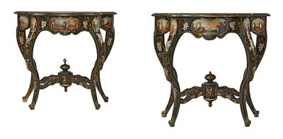 A Pair of Console Tables, - Furniture, Porcelain, Sculpture and Works of Art