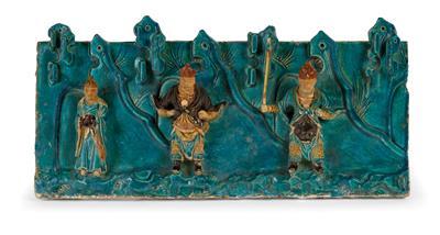 Sancai glasiertes Keramikrelief, China, Ming Dynastie