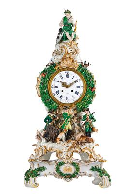 An Exceptional Hunting Clock with Base, Diana and Hunter Group, - Starožitnosti