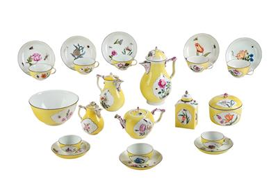 A Coffee and Tea Service with Yellow Ground and Floral Decor, - Starožitnosti
