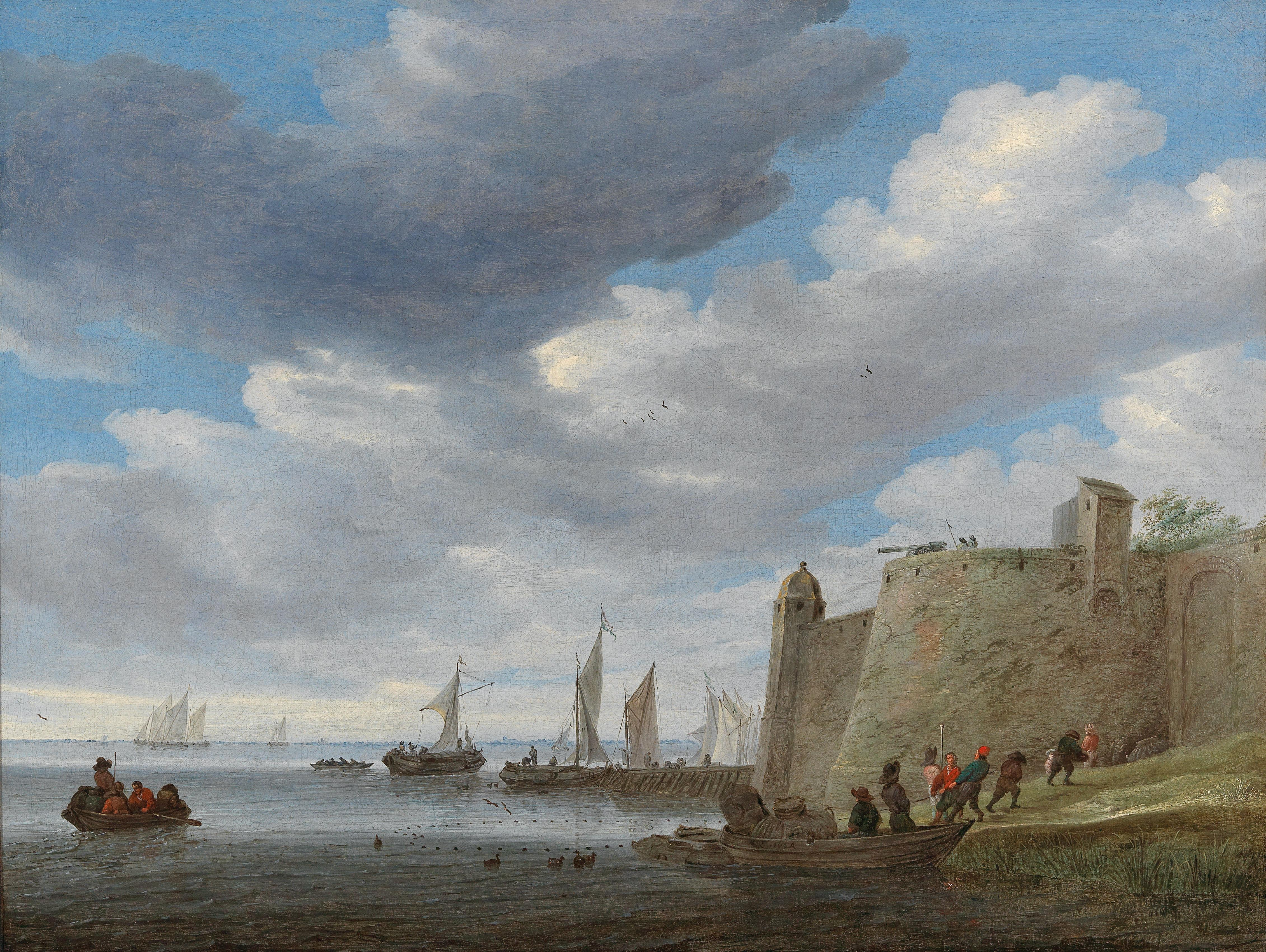 A river estuary with figures pulling in their nets by a fort, wijdships at a footbridge and other vessels beyond ( Доротеум )