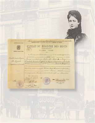 Empress Elisabeth of Austria – death certificate, - Imperial Court Memorabilia and Historical Objects