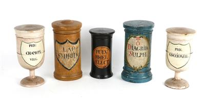 Five wood Apothecary Jars - Antique Scientific Instruments, Globes and Cameras