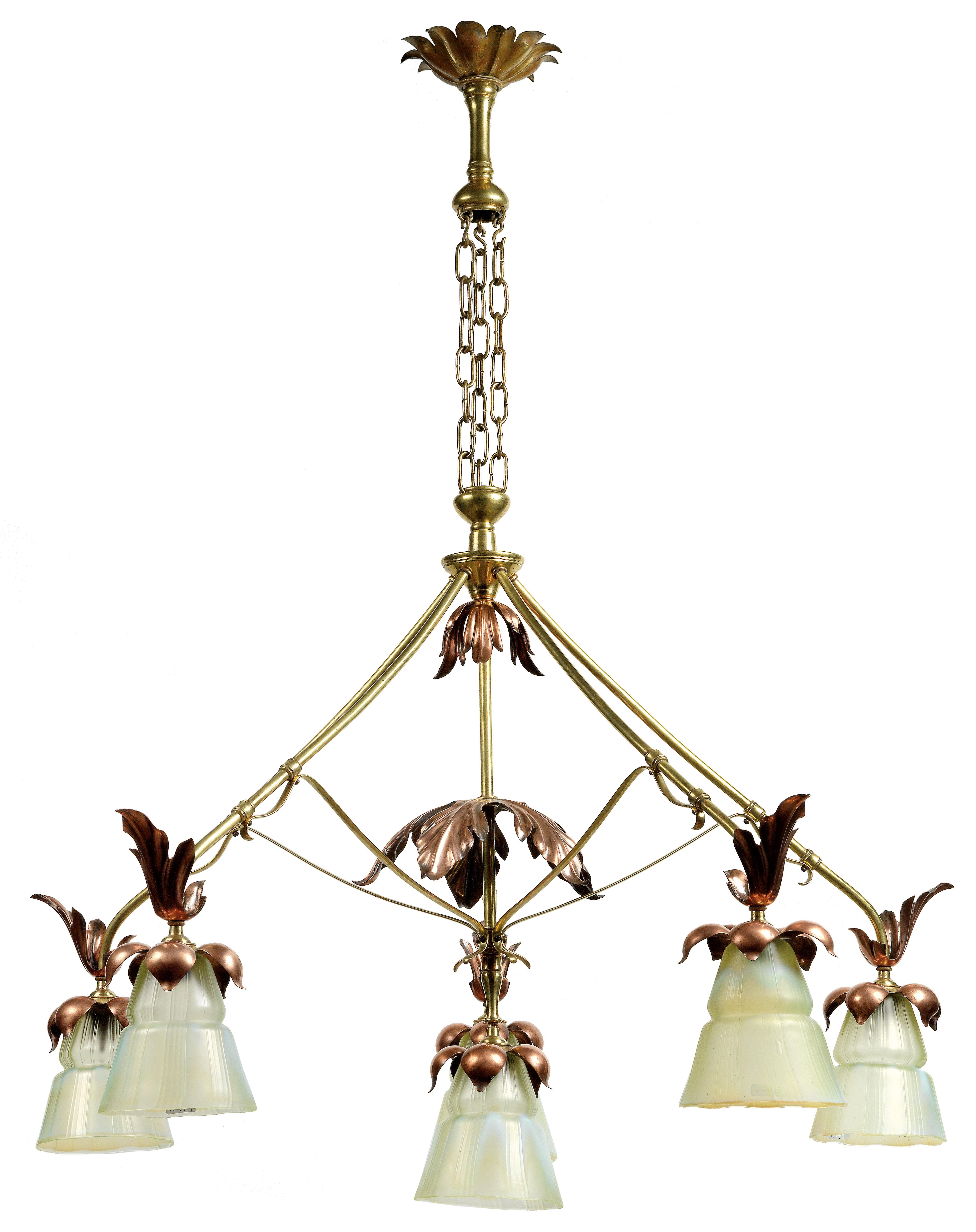Rare Large Hanging Lamp With Six Lights W A S Benson