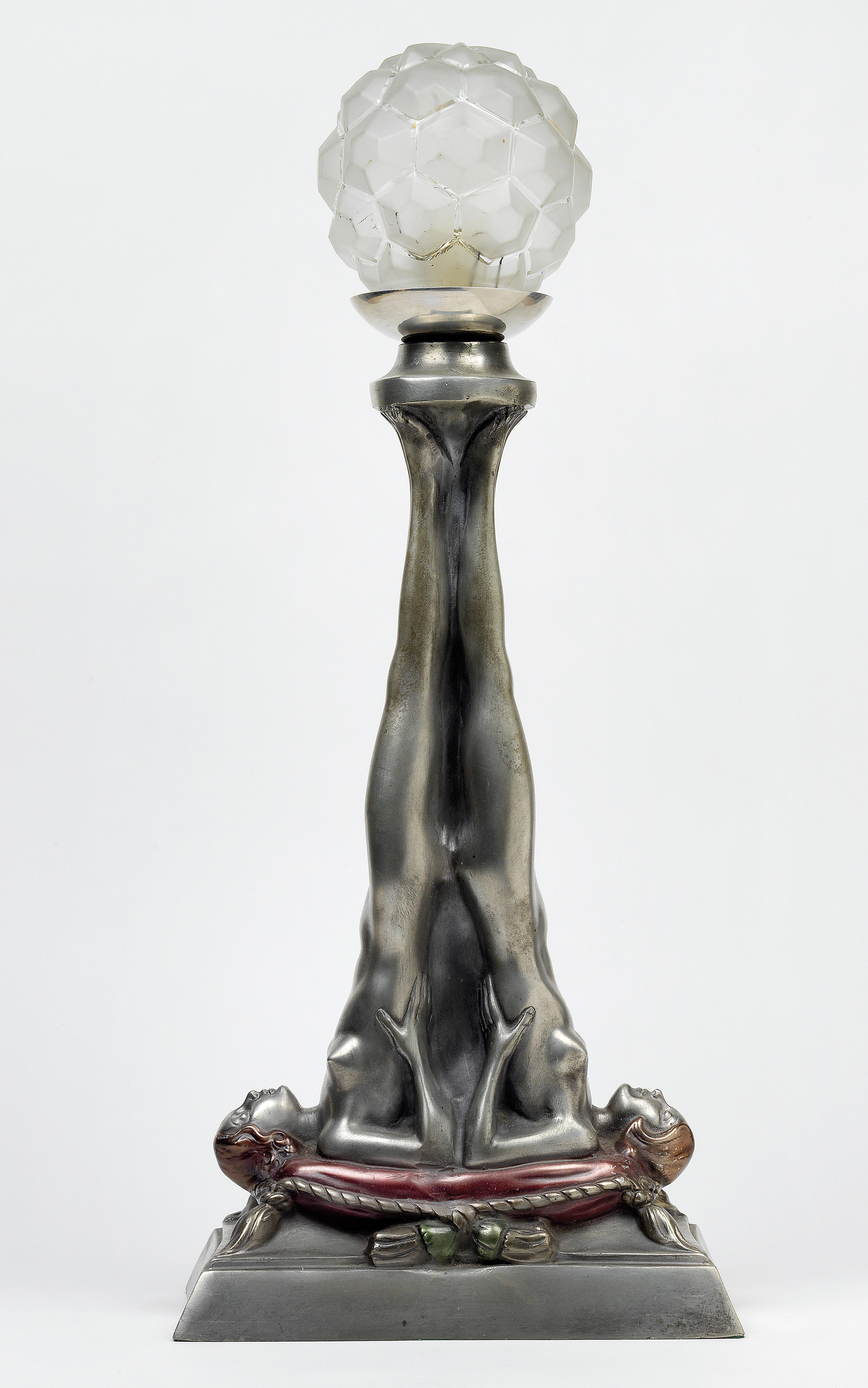 An Art Déco Table Lamp With Two Female Figures Stretching