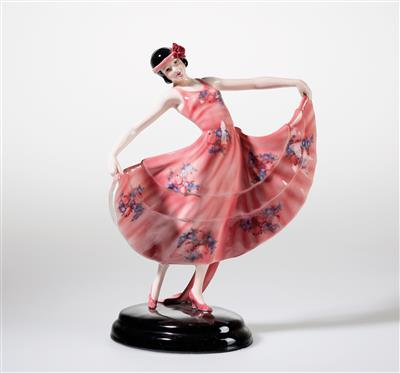 "Stephan Dakon, a ""Viennese waltz"" figurine (standing dancer with flaring long-train dress), standing on an oval base, designed in c. 1929/30 - Jugendstil e arte applicata del XX secolo"