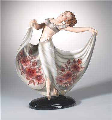 "Josef Lorenzl, ""female dancer"", model number: 1445, executed by Keramos, Vienna, as of 1950 - Jugendstil e arte applicata del XX secolo"