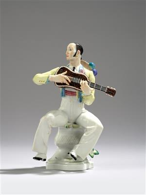 "Paul Scheurich, ""Spanier mit Laute"", model number: A 1191 (67076), model year: 1933, executed by Meissen Porcelain Factory, as of 1980 - Secese a umění 20. století"