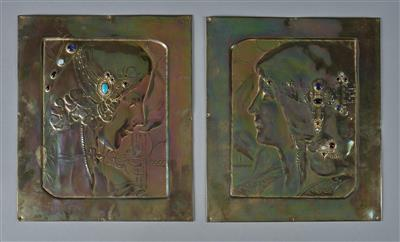 A pair of reliefs with female profiles in the style of Georg Klimt, designed in Vienna in around 1910 - Secese a umění 20. století