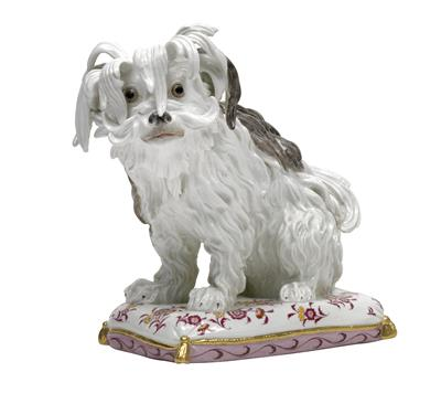 A Bolognese dog sitting on a cushion, - Sklo, Porcelán