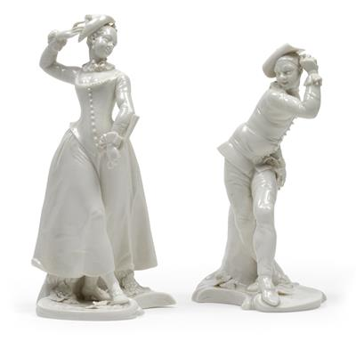 A harlequin couple, - Glass and porcelain