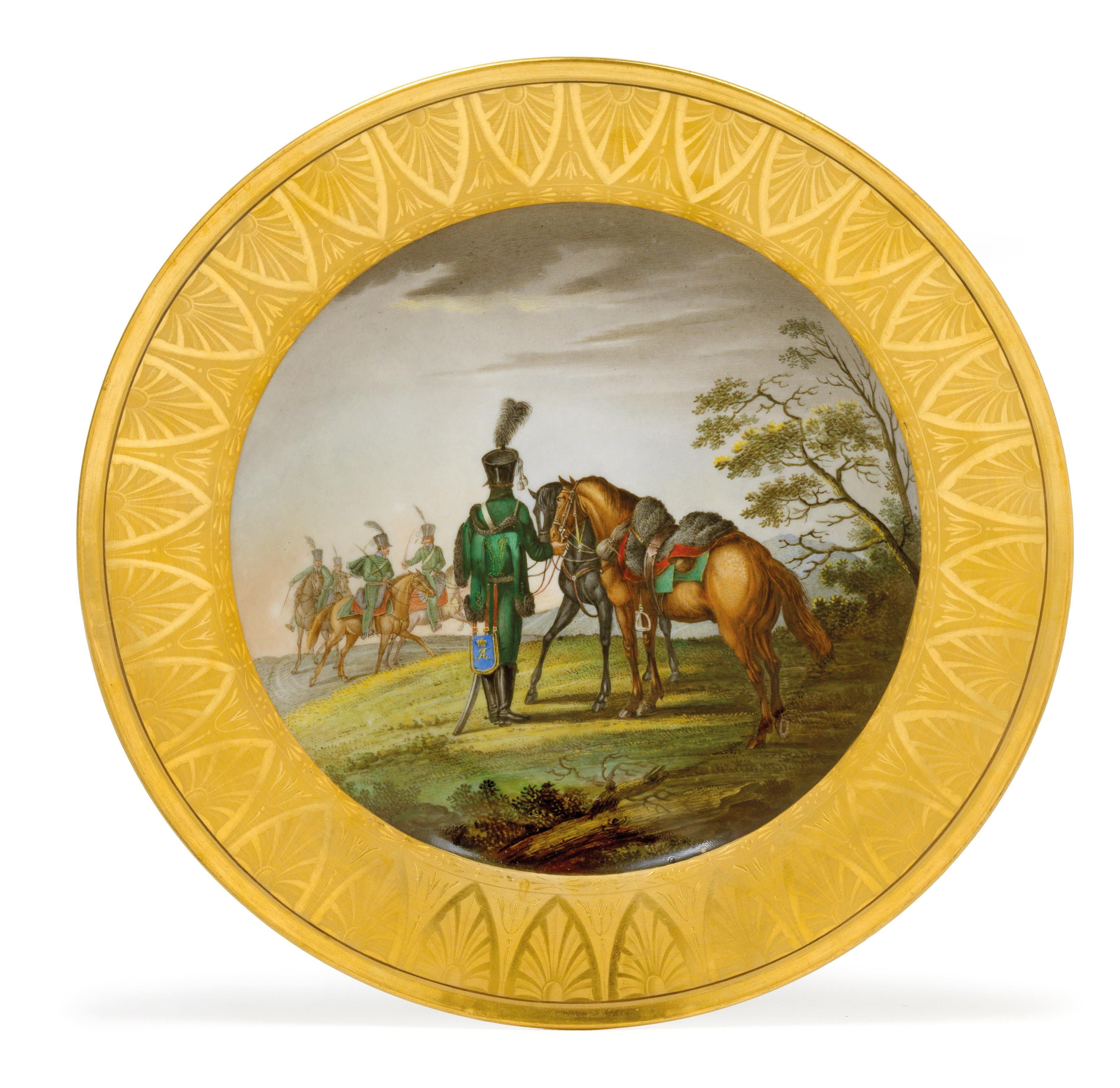 A Plate With Russian Mounted Soldiers In A Vast Landscape Glass And Porcelain 2017 12 13 Realized Price Eur 2 375 Dorotheum