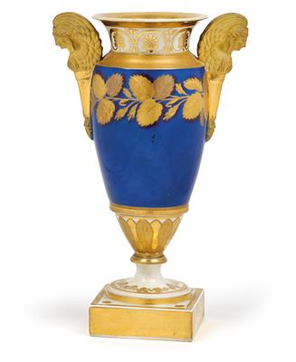 An Empire Period vase with sphinx handles, - Glass and Porcelain