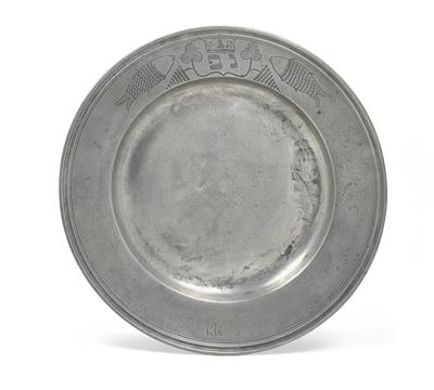 A Purim plate with Hebrew engraving, - Starožitnosti