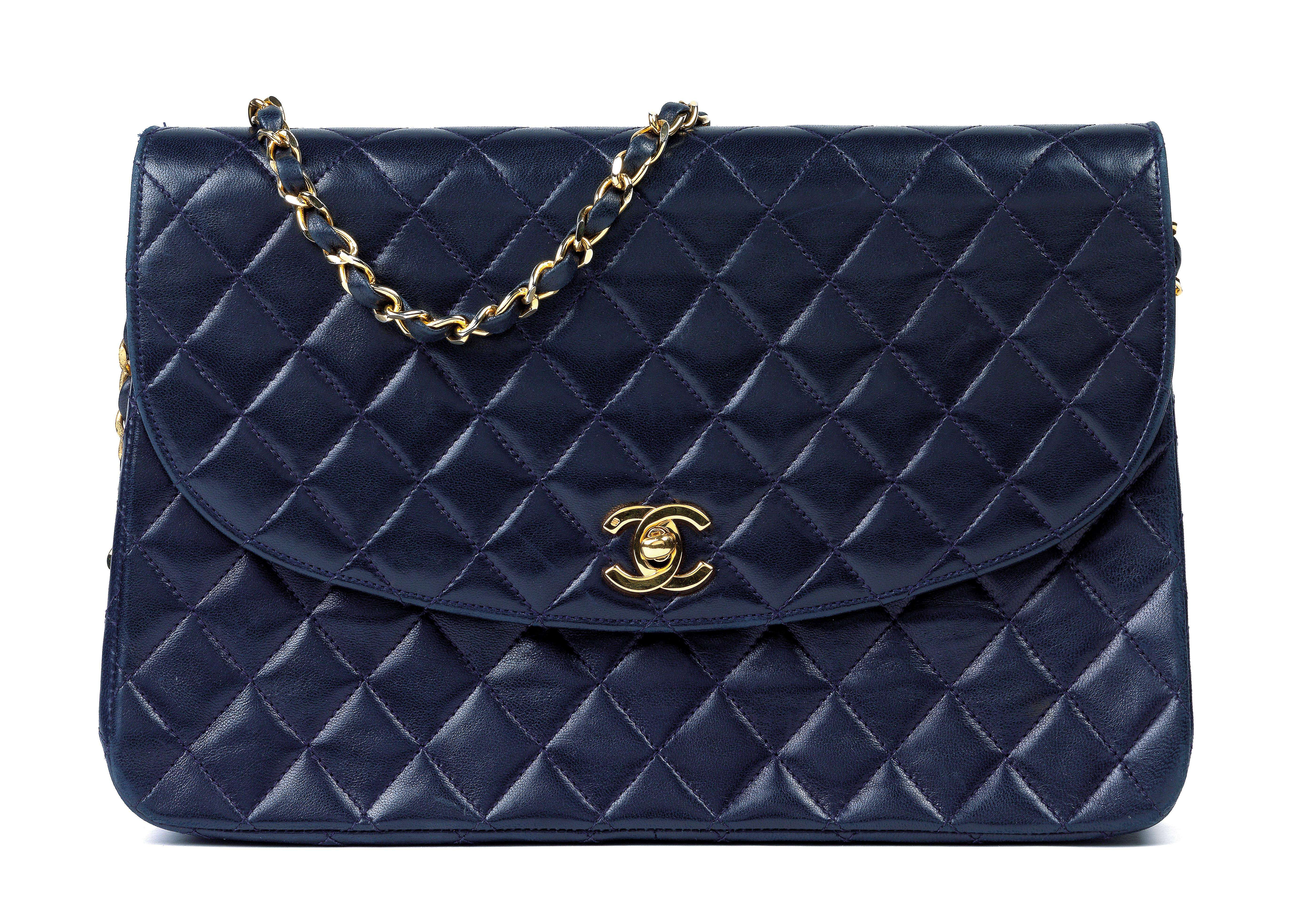 A Chanel Quilted Navy Blue Flap Bag