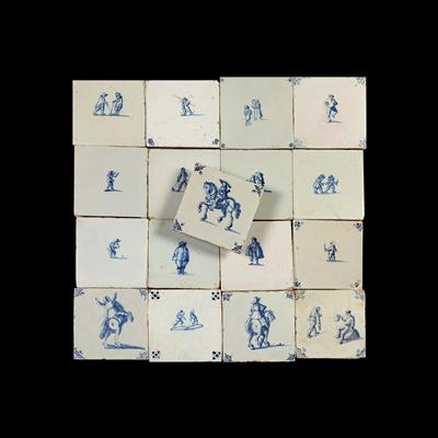 17 Delft tiles, 17th cent. - Antiques