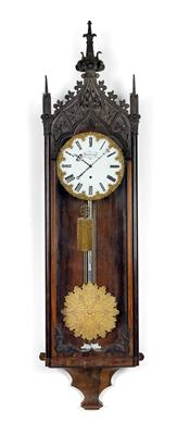 A large Neogothic wall pendulum clock, with 1-month power reserve - Antiquariato