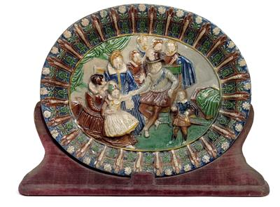An oval footed dish, in the style of Bernard Palissy, France, 17th cent. - Antiques