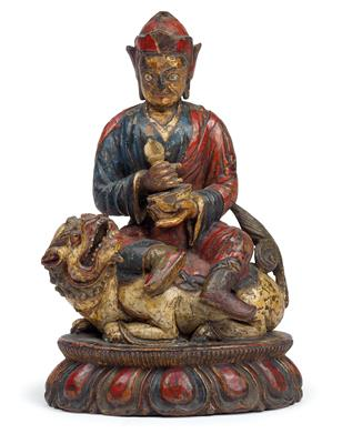 Padmasambhava on a lion, Tibet, circa 18th century - Antiquariato