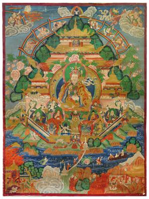 A thangka depicting 'Padmasambhava in the Glorious Copper Mountain Paradise', Tibet 19th/20th cent. - Umění a starožitnosti