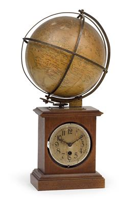 A travel clock with globe - Antiques