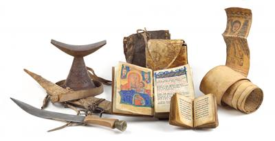 Mixed lot (5 items): Ethiopia: A 'Bible', a small prayer