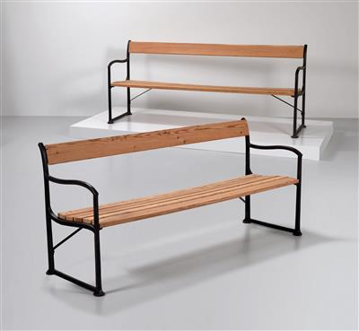 Two park benches, model no. 561, designed by Josef Hoffmann, - Design