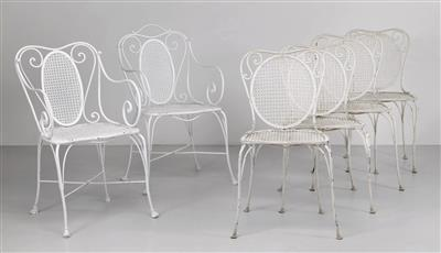 Four chairs and two armchairs, - Design