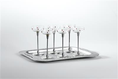 A tray and six liqueur glasses, designed by Otto Wagner, - Design