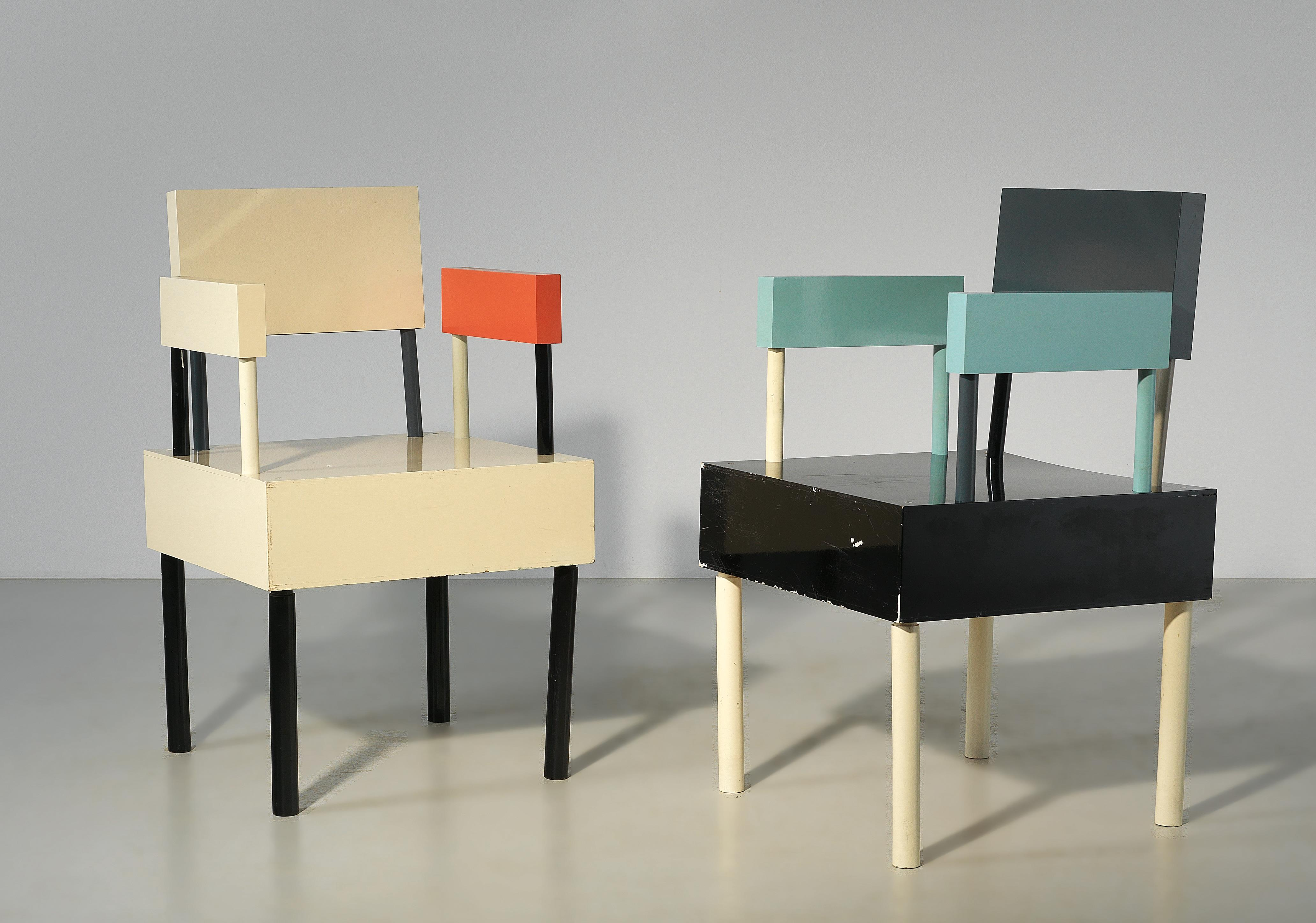 """two armchairs from an """"open furniture"""" group, designed"""
