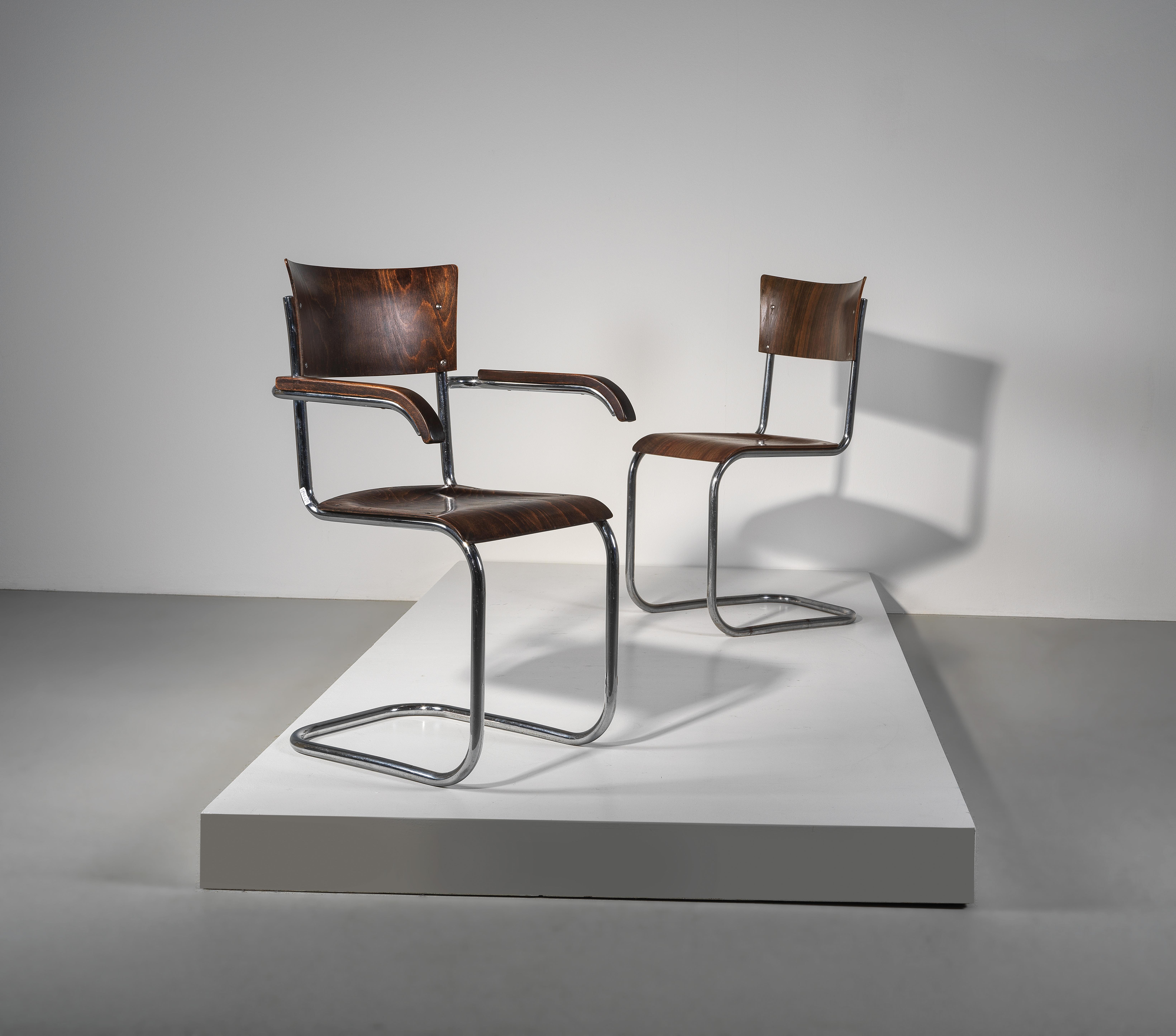 Mart Stam Design.Two Cantilever Chairs Mod No B 43 And B 43 F Designed By