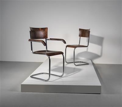 Two cantilever chairs mod. no. B 43 and B 43 F, designed by Mart Stam - Design