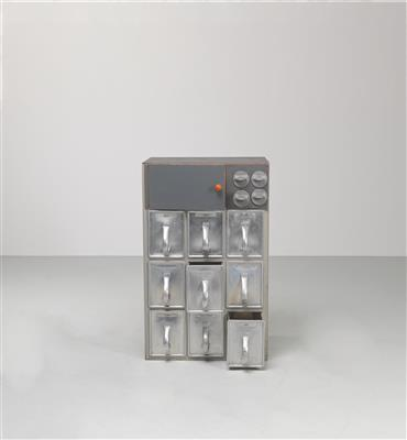 A Lower Cabinet with Nine Large Drawers and Four Condiment Containers, the drawers designed by Margarete Schütte-Lihotzky, - Design