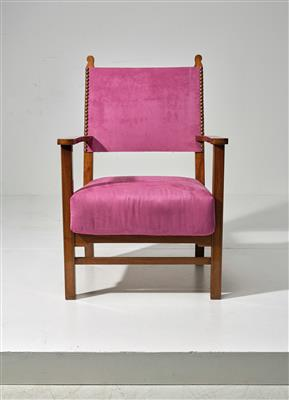 A large fireside armchair, a variant based on a design by Adolf Loos (in collaboration with Heinrich Kulka), - Design