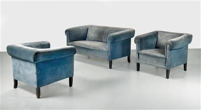A set of a bench and two armchairs from the Villa Primavesi in Hinterbrühl - Design First