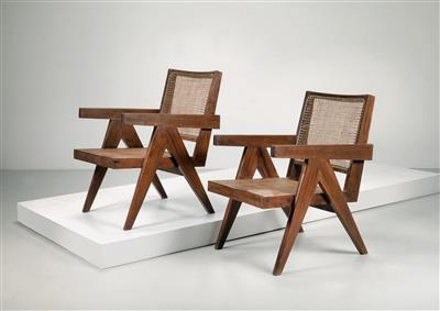 "Paar ""Easy Cane Armchairs"", Entwurf Pierre Jeanneret - Design First"