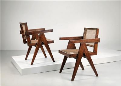 "Paar ""Office Cane Armchairs"", Entwurf Pierre Jeanneret - Design First"