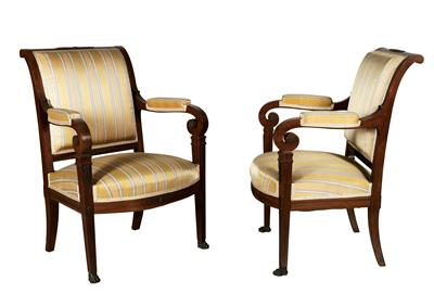 A pair of Neoclassical armchairs, - Selected by Hohenlohe