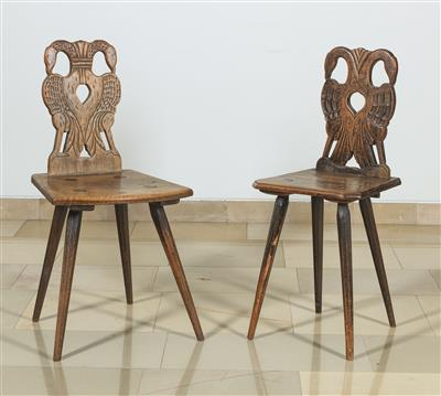 2 Slightly Different Plank Chairs, - Nábytek
