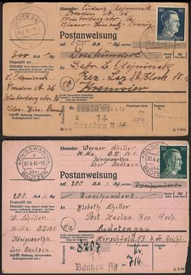 Poststück - D.Reich April 1945 - 4 Überroll-Anweisungen aus Dresden A 45,