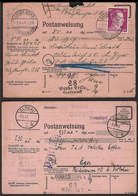 Poststück - D.Reich/Brandenburg 1945 4 April Überroll-Anweisungen aus...