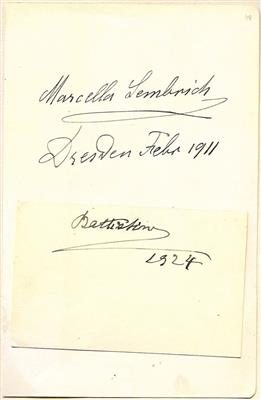 Sembrich, Marcella, - Autographs, manuscripts, certificates