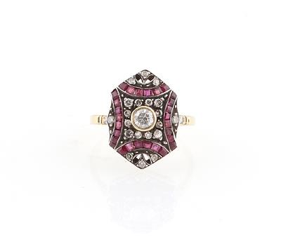 Brillant Rubin Imitationsstein Ring - Erlesener Schmuck