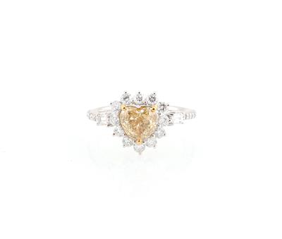 Diamantring mit Fancy Brownish Yellow Diamant im Herzschliff 1,42 ct - Gioielli scelti